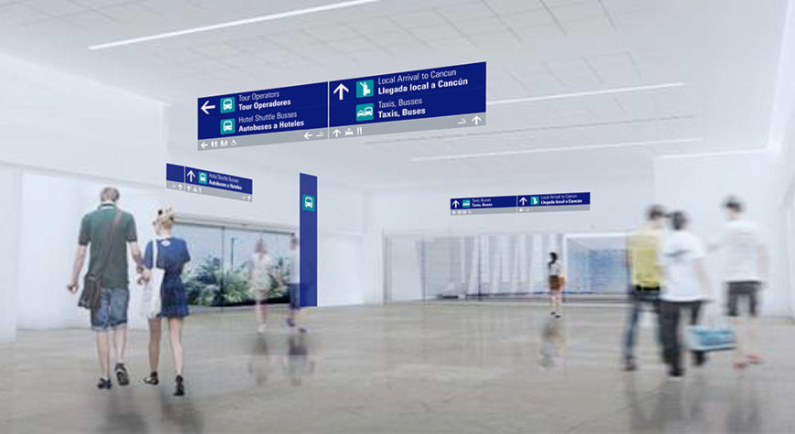 Wayfinding designed by Triagonal in Cancun Airport