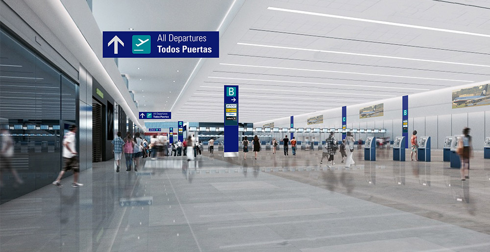 Check-in area in Cancun Airport with signage designed by Triagonal