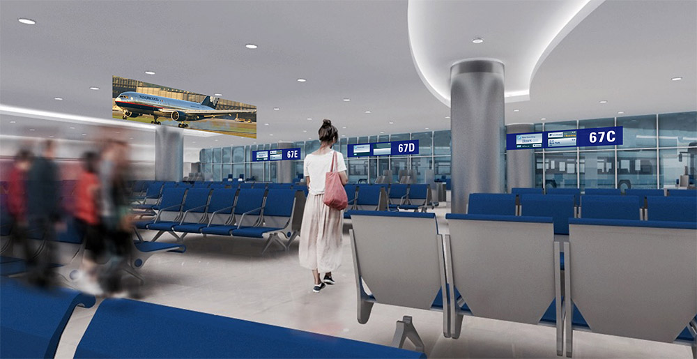 Departures in Cancun Airport with wayfinding designed by Triagonal
