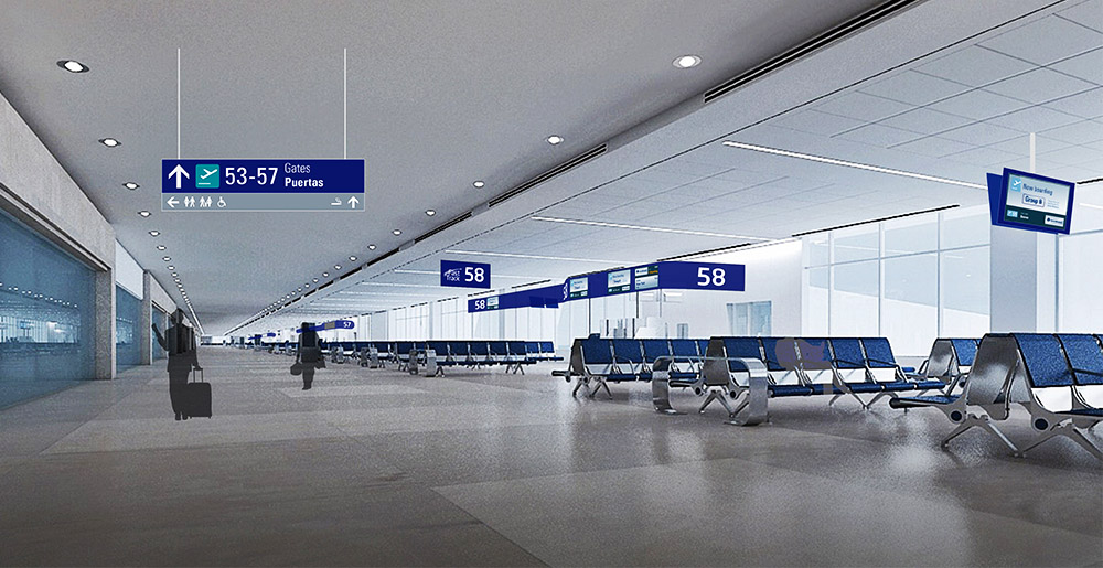 Airport wayfinding designed by Triagonal in Cancun Airport