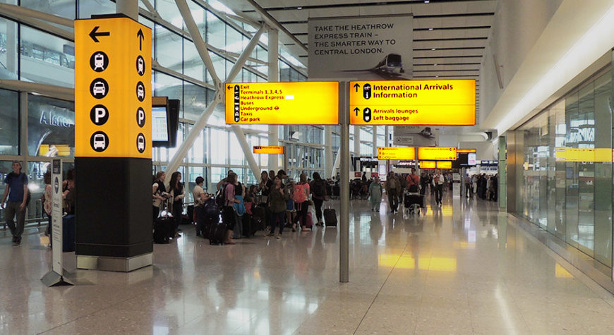 Wayfinding signs with light at Heathrow Airport