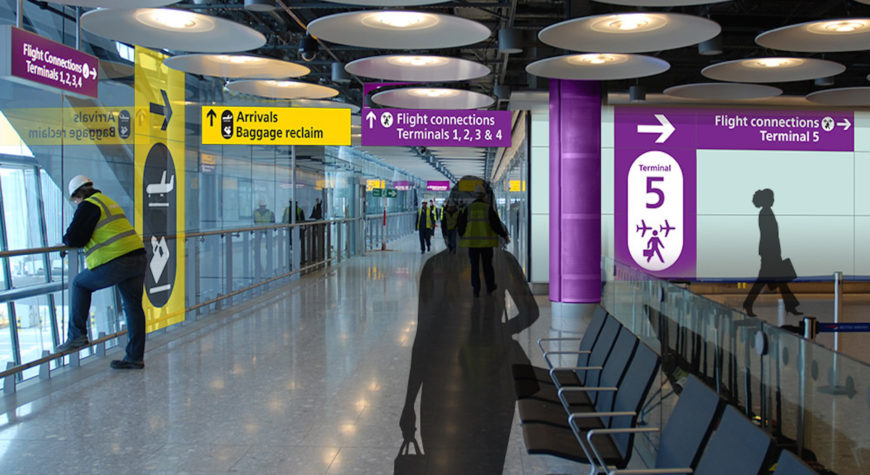Wayfinding graphics for directional signage at Heathrow Airport