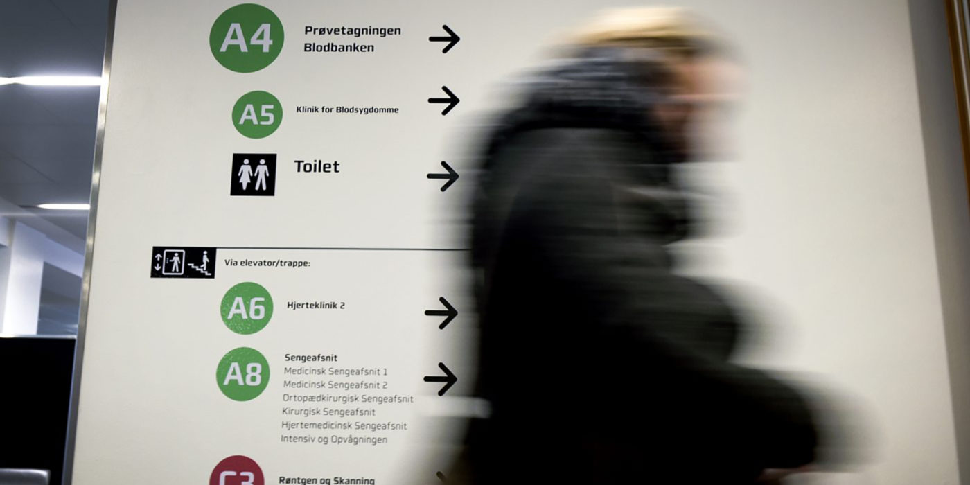 Directional signage designed by Triagonal for Regional Hospital Horsens