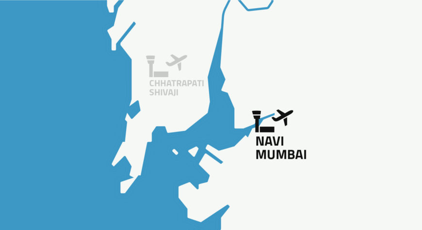 Map showing the placement of the new Navi Mumbai International Airport
