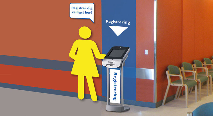 Super graphics used to inform patients about check-in procedure