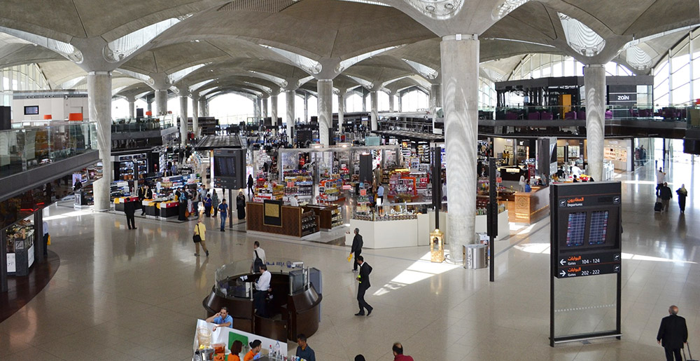 Overview of the shopping area at Queen Alia International Airport