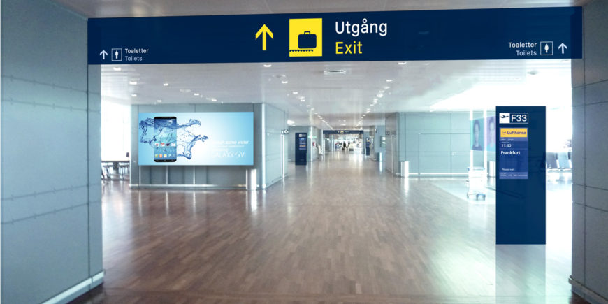 At Arlanda Airport in Stockholm Triagonal worked with Compass Intl. Media on integrating commercial information with the airport wayfinding signage.